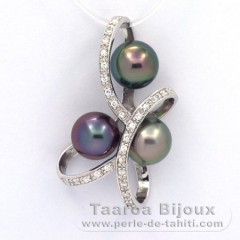 Rhodiated Sterling Silver Pendant and 3 Tahitian Pearls Round C+  8.7 to 8.8 mm