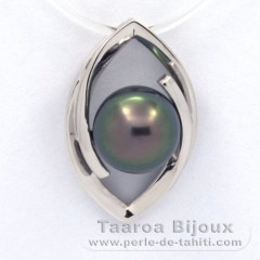 Rhodiated Sterling Silver Pendant and 1 Tahitian Pearl Near-Round B 8.8 mm