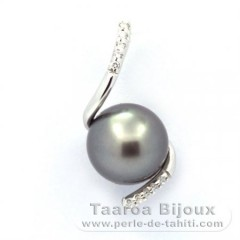 Rhodiated Sterling Silver Pendant and 1 Tahitian Pearl Near-Round C 9.5 mm