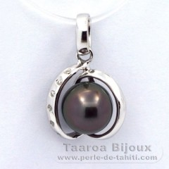 Rhodiated Sterling Silver Pendant and 1 Tahitian Pearl Semi-Baroque C 8.2 mm