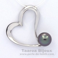 Rhodiated Sterling Silver Pendant and 1 Tahitian Pearl Semi-Baroque B 8.9 mm