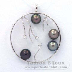 Rhodiated Sterling Silver Pendant and 4 Tahitian Pearls Round C  8.1 to 8.4 mm