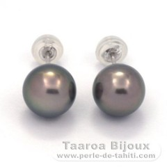 18K Solid White Gold Earrings and 2 Tahitian Pearls Round 1 B & 1 C 8.6 mm