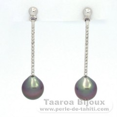 Rhodiated Sterling Silver Earrings and 2 Tahitian Pearls Semi-Baroque B 9 and 9.1 mm