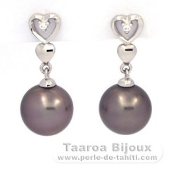 Rhodiated Sterling Silver Earrings and 2 Tahitian Pearls Round C 8.9 and 9 mm