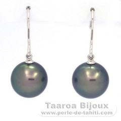 18K Solid White Gold Earrings and 2 Tahitian Pearls Round C+ 11.4 mm