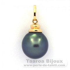 18K solid Gold Pendant and 1 Tahitian Pearl Semi-Baroque B 11.6 mm