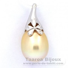 Rhodiated Sterling Silver Pendant and 1 Australian Pearl Semi-Baroque B/C 12.3 mm