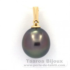 18K solid Gold Pendant and 1 Tahitian Pearl Semi-Baroque B 10.4 mm