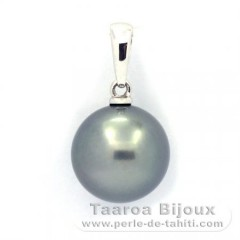18K Solid White Gold Pendant and 1 Tahitian Pearl Round B 10.9 mm