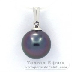 18K Solid White Gold Pendant and 1 Tahitian Pearl Round B 9.7 mm