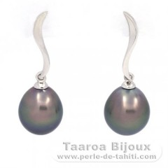 18K Solid White Gold Earrings and 2 Tahitian Pearls Semi-Baroque B 9.1 and 9.2 mm
