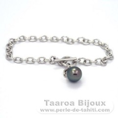 Rhodiated Sterling Silver Bracelet and 1 Tahitian Pearl Round A 9.4 mm