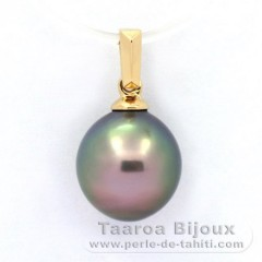 18K solid Gold Pendant and 1 Tahitian Pearl Semi-Baroque B 9.6 mm