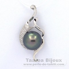 Rhodiated Sterling Silver Pendant and 1 Tahitian Pearl Semi-Baroque C 11.2 mm