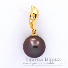 18K solid Gold Pendant + 2 diamonds 0.018 carats HS1 and 1 Tahitian Pearl Round A 10.5 mm