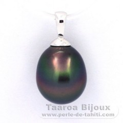 18K Solid White Gold Pendant and 1 Tahitian Pearl Semi-Baroque B 10 mm