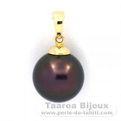 18K solid Gold Pendant and 1 Tahitian Pearl Round B 11.5 mm