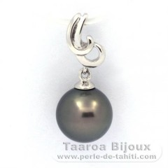 Rhodiated Sterling Silver Pendant and 1 Tahitian Pearl Round C 9.6 mm