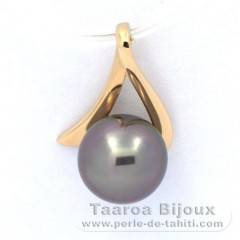 18K solid Gold Pendant and 1 Tahitian Pearl Round B 8.3 mm