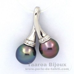 Rhodiated Sterling Silver Pendant and 2 Tahitian Pearls Semi-Baroque B+ 9.1 and 9.3 mm