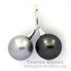 Rhodiated Sterling Silver Pendant and 2 Tahitian Pearls Round C 13.6 and 13.7 mm