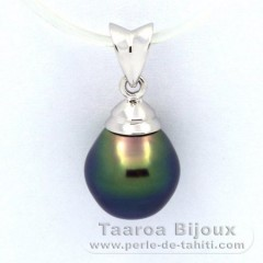 Rhodiated Sterling Silver Pendant and 1 Tahitian Pearl Semi-Baroque B+ 9.2 mm