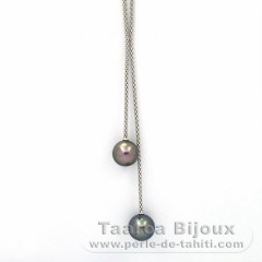 Rhodiated Sterling Silver Necklace and 2 Tahitian Pearls Round B/C 11 and 11.4 mm