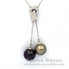 Rhodiated Sterling Silver Necklace and 2 Tahitian Pearls Round C+ 11 and 11.3 mm