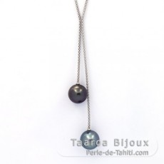 Rhodiated Sterling Silver Necklace and 2 Tahitian Pearls Round B/C 13.1 and 13.3 mm