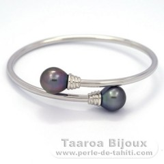Rhodiated Sterling Silver Bracelet and 2 Tahitian Pearls Semi-Baroque C 10.7 and 10.8 mm