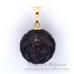18K solid Gold Pendant and 1 Engraved Tahitian Pearl 13 mm