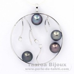 Rhodiated Sterling Silver Pendant and 4 Tahitian Pearls Round C  8.2 to 8.3 mm