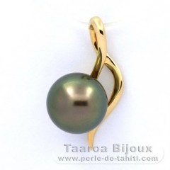 18K solid Gold Pendant and 1 Tahitian Pearl Round B 8.8 mm