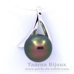 18K Solid White Gold Pendant and 1 Tahitian Pearl Round B+ 8.6 mm