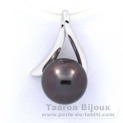 18K Solid White Gold Pendant and 1 Tahitian Pearl Round B 8.4 mm