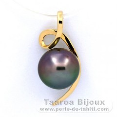 18K solid Gold Pendant and 1 Tahitian Pearl Near-Round A 9.4 mm