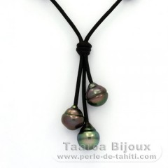 Leather Necklace and 3 Tahitian Pearls Ringed B 10.1 to 10.3 mm
