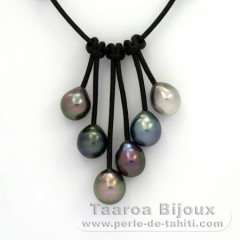 Leather Necklace and 6 Tahitian Pearls Semi-Baroque C  9 to 9.5 mm