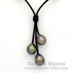Leather Necklace and 3 Tahitian Pearls Semi-Baroque B  9 to 9.3 mm