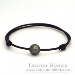 Waxed Cotton Bracelet Argent and 1 Tahitian Pearl Ringed C 9.9 mm