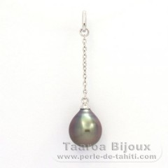 Rhodiated Sterling Silver Pendant and 1 Tahitian Pearl Semi-Baroque A 8.9 mm