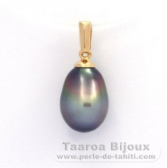 18K solid Gold Pendant and 1 Tahitian Pearl Semi-Baroque B 8.2 mm