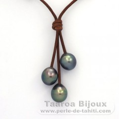 Leather Necklace and 3 Tahitian Pearls Semi-Baroque C  9.7 to 9.8 mm
