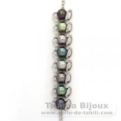 Rhodiated Sterling Silver Bracelet and 8 Tahitian Pearls Semi-Baroque B  9.2 to 9.8 mm