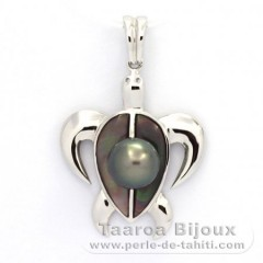 Rhodiated Sterling Silver Pendant and 1 Tahitian Pearl Round C 8.2 mm