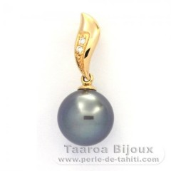 18K solid Gold Pendant + 2 diamonds 0.018 carats VS1 and 1 Tahitian Pearl Round A 10.2 mm