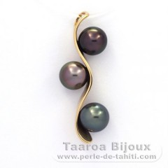 18K solid Gold Pendant and 3 Tahitian Pearls Round A  8.1 to 8.3 mm