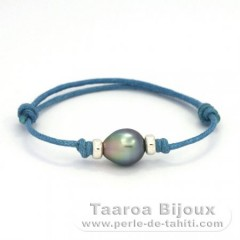 Waxed Cotton Bracelet and 1 Tahitian Pearl Semi-Baroque B 7.8 mm