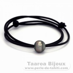 Leather Necklace and 1 Tahitian Pearl Ringed C 12.7 mm